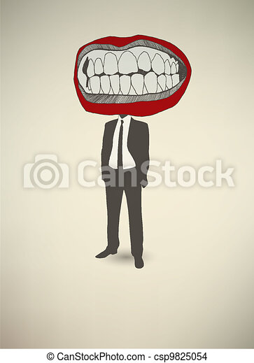 Conceptual poster. The businessman Mouth - csp9825054