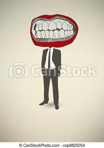 Conceptual poster. The businessman Mouth - csp9825054