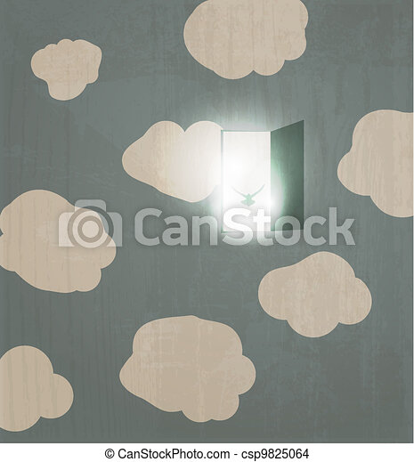 Abstract concept poster. Dove flies through the door in the sky. Spirit - csp9825064