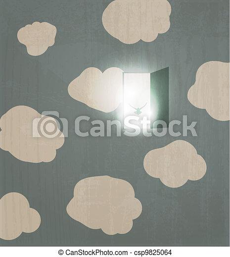 Abstract concept poster. Dove flies through the door in the sky. Spirit - csp9825064
