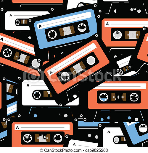 Vintage analogue music recordable cassettes. seamless background - csp9825288