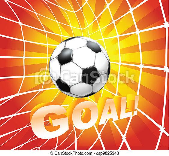 Football (soccer) ball in a net. Goal - csp9825343