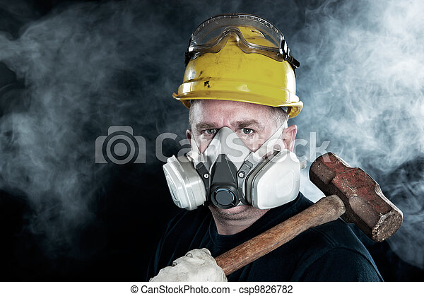 Worker in smoke - csp9826782