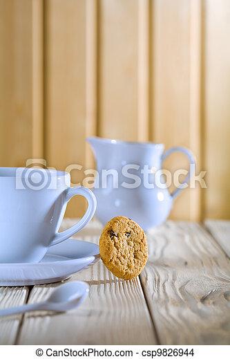 photo bleu caf tasse cruche blanc table image images photo libre de droits photos. Black Bedroom Furniture Sets. Home Design Ideas