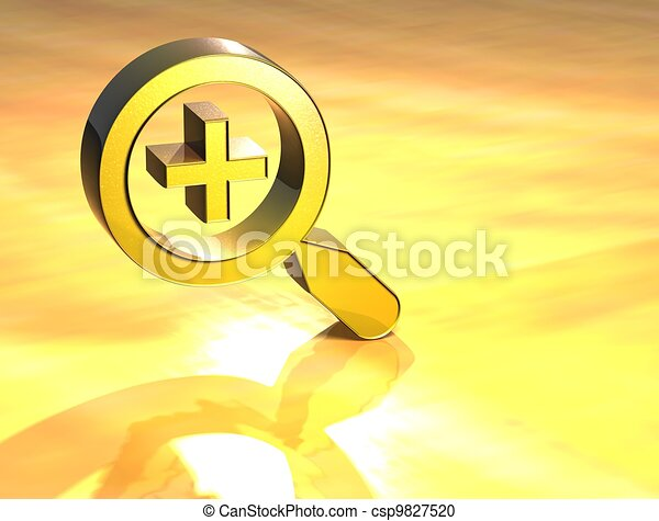 3D Zoom In Gold Sign - csp9827520