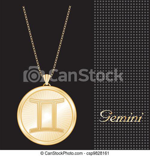 Gemini Gold Pendant Necklace  - csp9828161