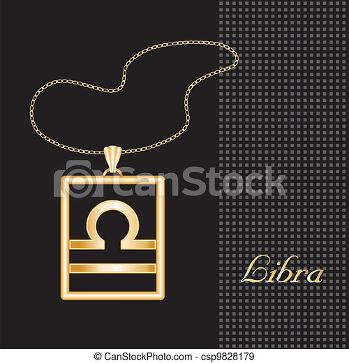 Libra Gold Necklace - csp9828179