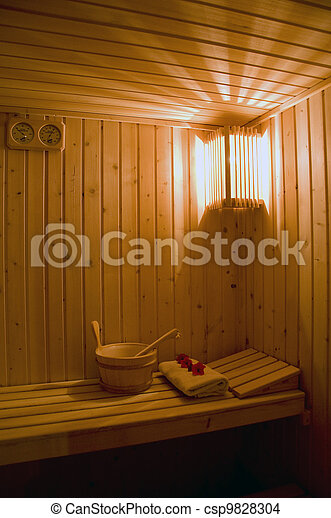 Interior of a wooden sauna - csp9828304