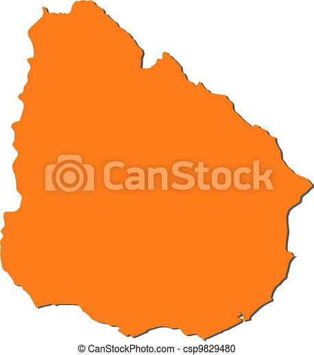 Map of Uruguay - csp9829480