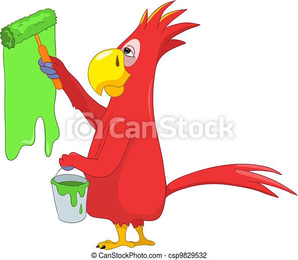 Funny Parrot. Painter. - csp9829532
