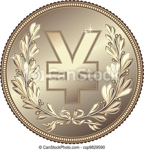 vector silver Money Yuan or Yen coin - csp9829590