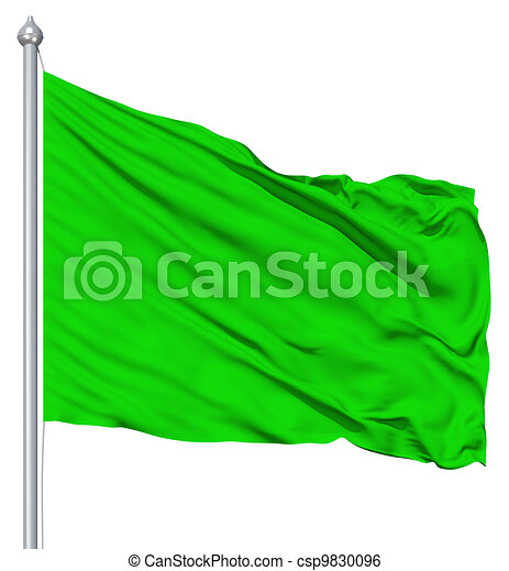 Green blank flag with flagpole - csp9830096