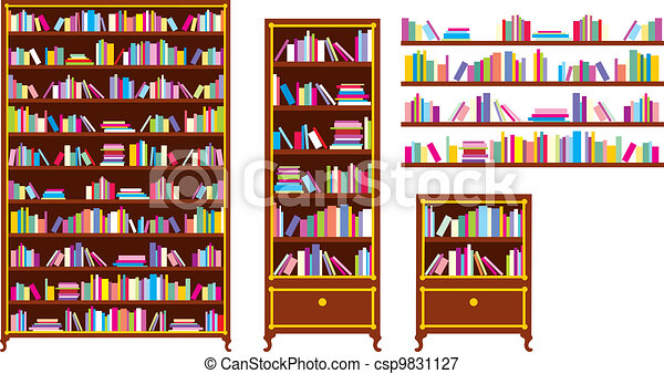 Set of bookcases and shelves - csp9831127
