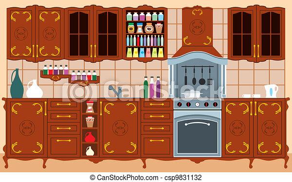 Kitchen furniture. Interior - csp9831132