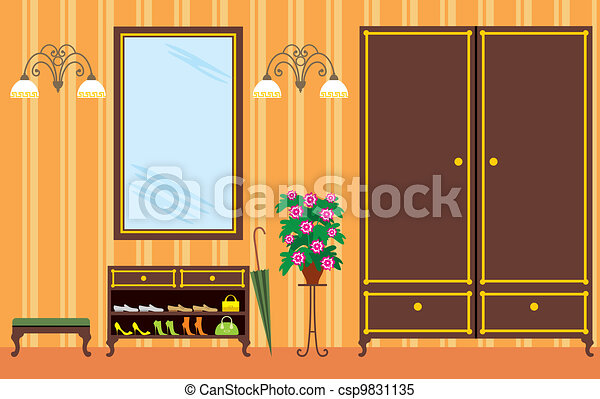 Entrance hall in apartment - csp9831135
