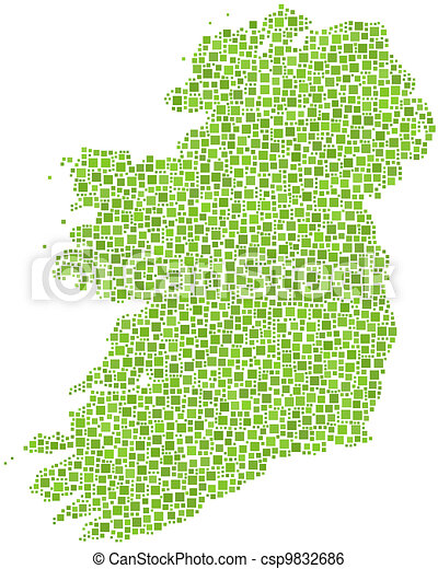 Map of Ireland - Europe -  - csp9832686