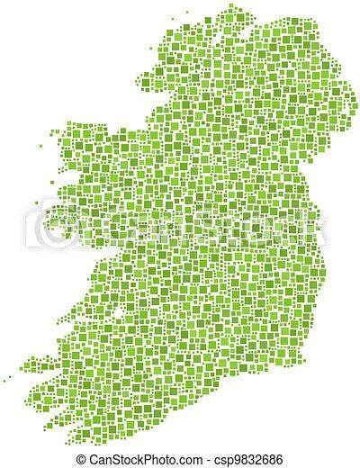 Map of Ireland - Europe -  - csp9832686