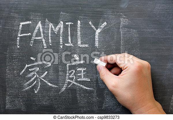 Family - word written on a blackboard - csp9833273