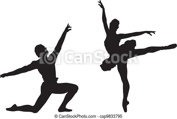 Clipart vectorial de ballet, bailarines - Siluetas, ballet ...