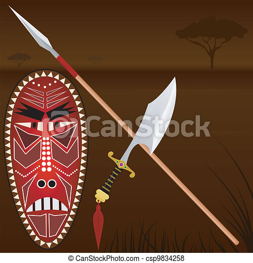 Illustration of African weapons - csp9834258