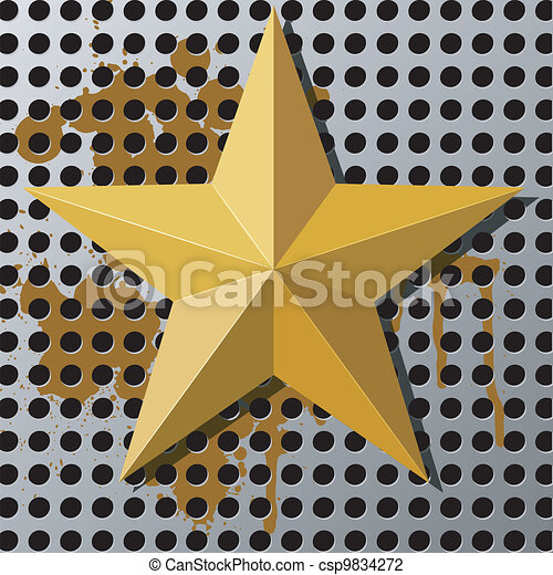 Gold star on a metal background with holes - csp9834272