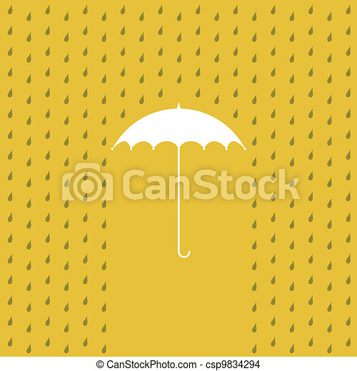 raining on a umbrella - illustration - csp9834294