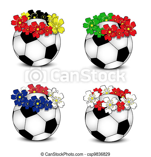 Soccer balls with floral flags - csp9836829