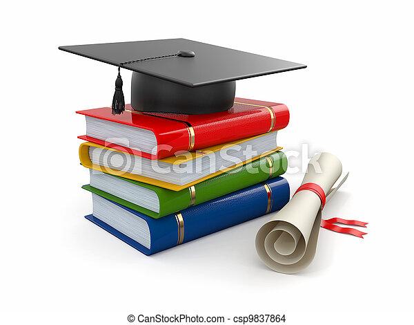 Graduation. Mortarboard, diploma and books. 3d - csp9837864