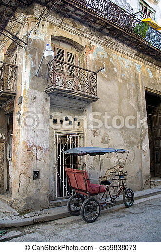 Bicitaxi parked in old town of Havana - csp9838073