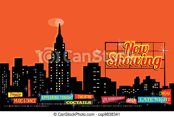 Vintage Retro City Nightlife - csp9838341