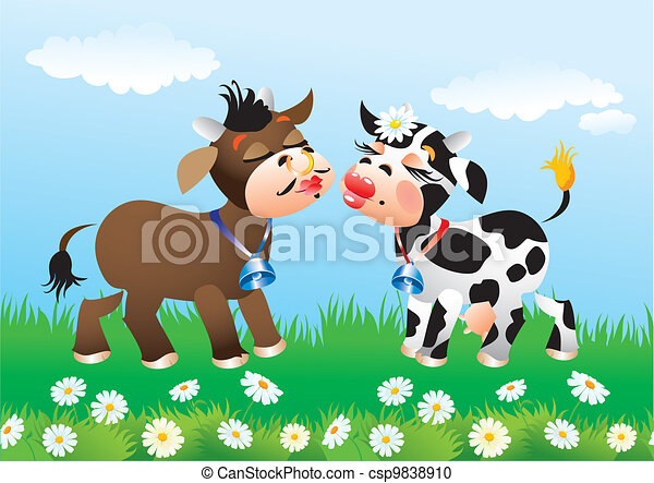 Cartoon kissing cows in love - csp9838910