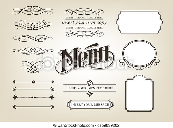Calligraphy Menu Set - csp9839202