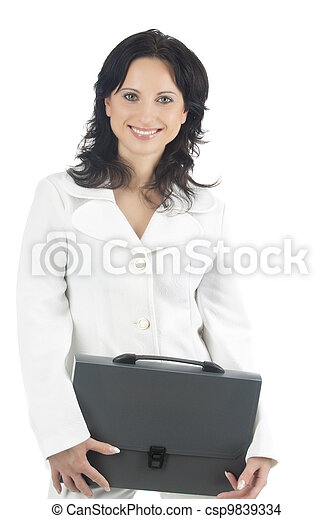 portrait of a smiling businesswoman with a briefcase - csp9839334
