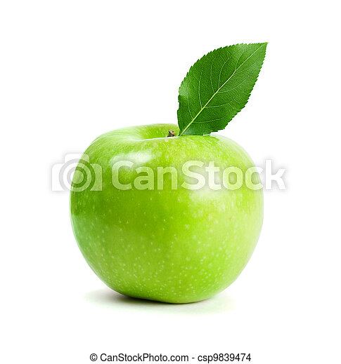 green apple fruits with leaf - csp9839474