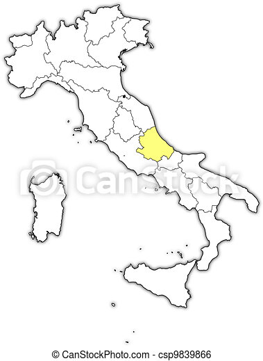 Map of Italy, Abruzzo highlighted - csp9839866