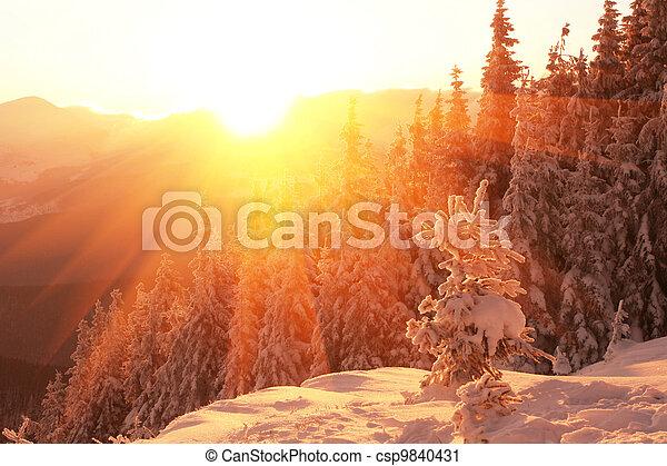 montanhas, Inverno - csp9840431