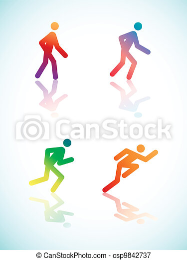 Gradient Running Pictograms - csp9842737