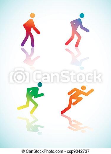 Gradient Running Pictograms - csp9842737