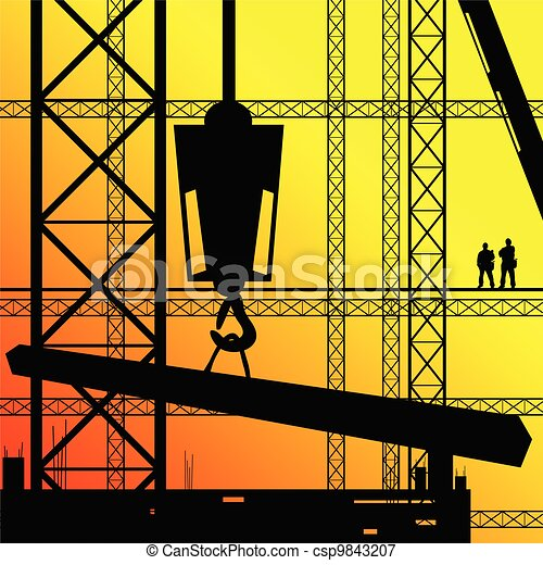 construction worker supervise the work illustration on sunshine - csp9843207