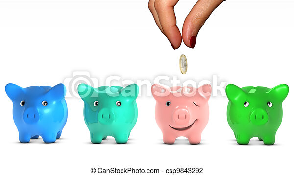 Woman's hand choosing a piggy bank and giving it a piece of money. The selected piggy bank is happy. Concept of doing a good placement choice. Ant fable. - csp9843292