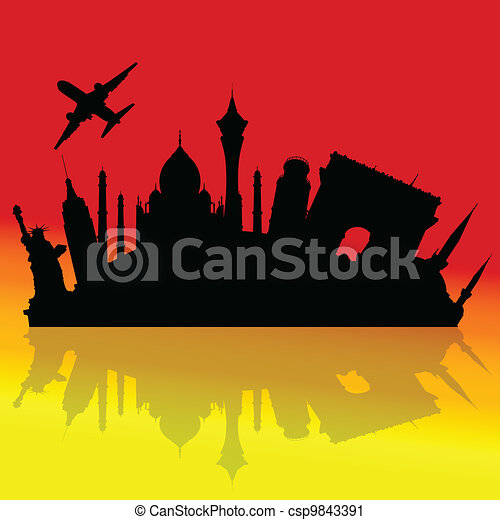 travel to the cities of the world illustration - csp9843391
