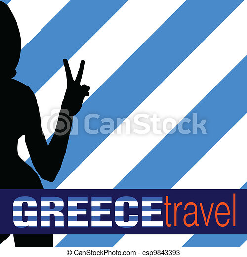 greece travel with girl and two finger illustration - csp9843393