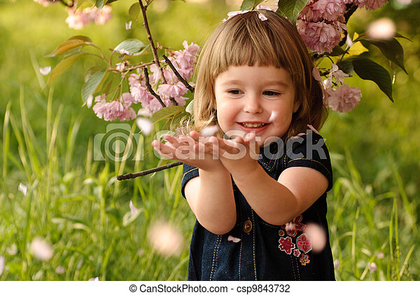 Little girl in garden - csp9843732