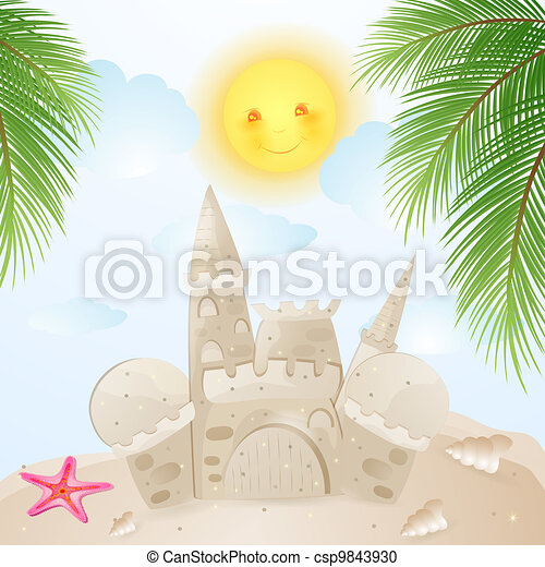 Summer background with castle sand - csp9843930