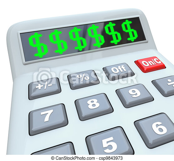 Dollar Signs on Calculator Adding Costs Expensive Budget - csp9843973