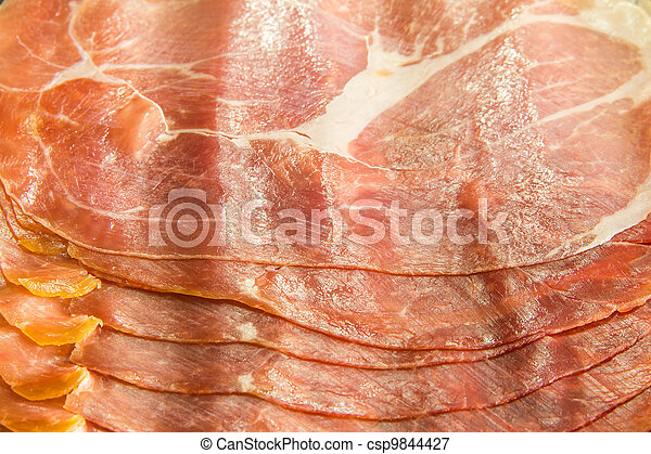 Cured Italian ham prosciutto slices background - csp9844427