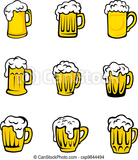 Set of beer glasses with fresh foam - csp9844494