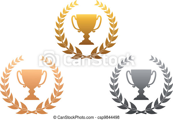Golden, silver and bronze awards - csp9844498