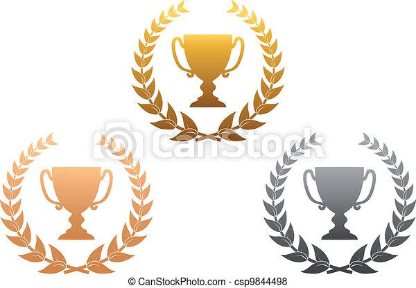 Golden, silver and bronze awards - csp9844498