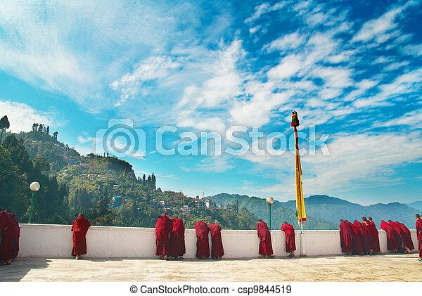 moines, depuis, Indien, monastère - csp9844519